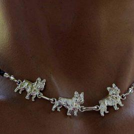 Collar de plata de l ey bulldog frances
